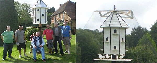 The hard working guys that put the garden dovecote up